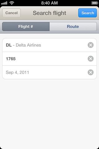 Flight Card zoeken op vluchtnummer