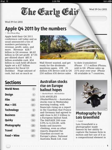 The Early Edition iPad voorpagina