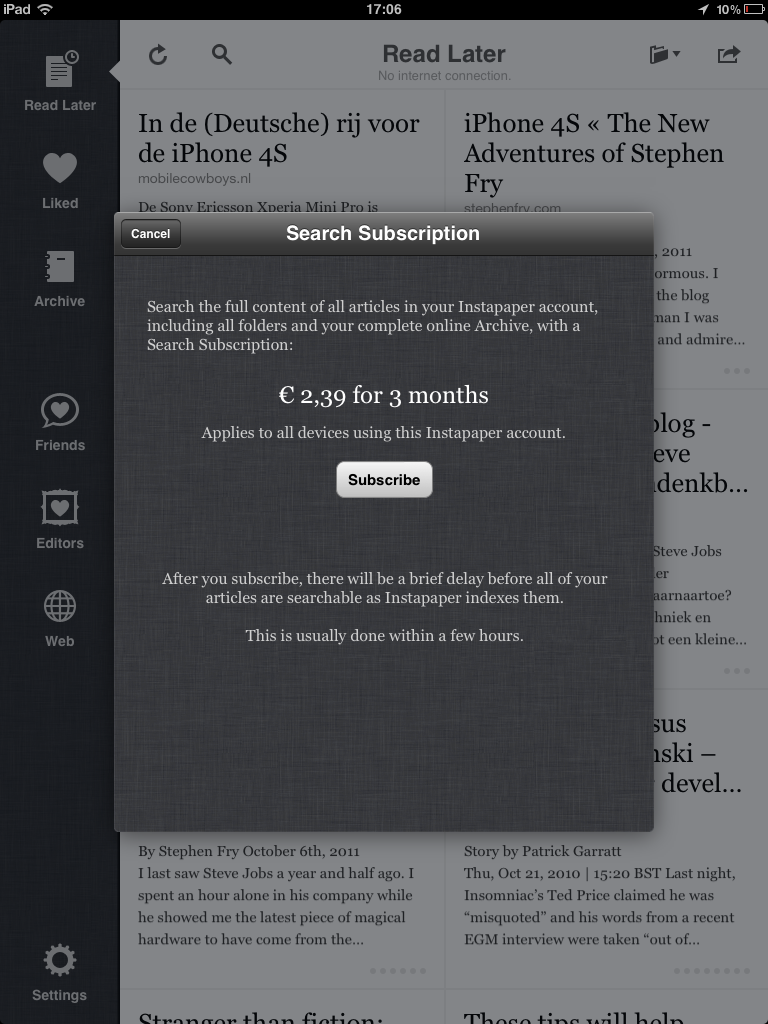 Search Subscription Instapaper