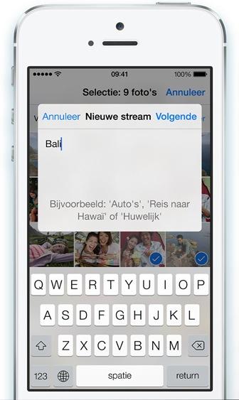 Fotostream delen iOS 7