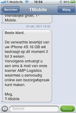 t-mobile sms levertijd iphone 4s