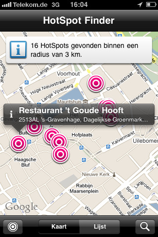 T-Mobile HotSpot Finder iPhone kaart