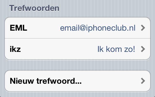 Trefwoorden iOS 5