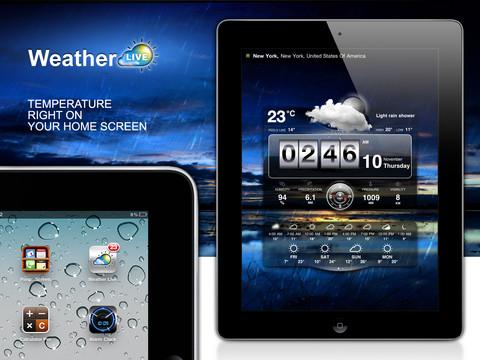 Live Weer iPad temperatuur in homescreen
