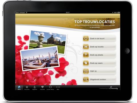 TopTrouwlocaties iPad hoofdscherm