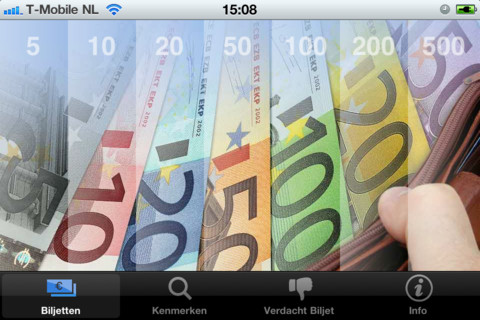 Eurobiljet iPhone iPod touch hoofdmenu