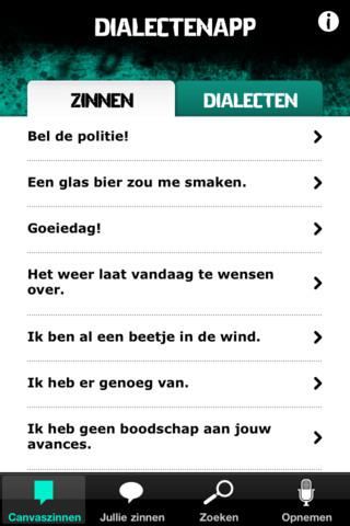 Man Over Woord Canvas dialecten Vlaanderen iPhone-app
