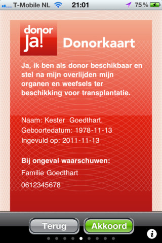 DonorApp iPhone Donorkaart