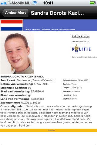 Amber Alert NL vermissing Sandra Dorota Kazimierska