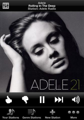 Jango Radio iPhone Adele playing