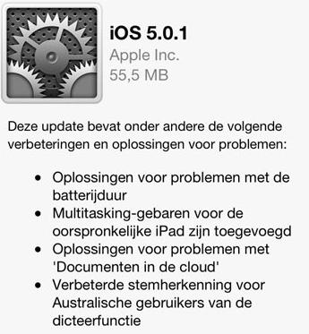 iOS 5.0.1 nieuwe firmware OTA update