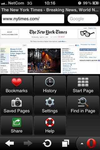 Opera Mini Web Browser opties