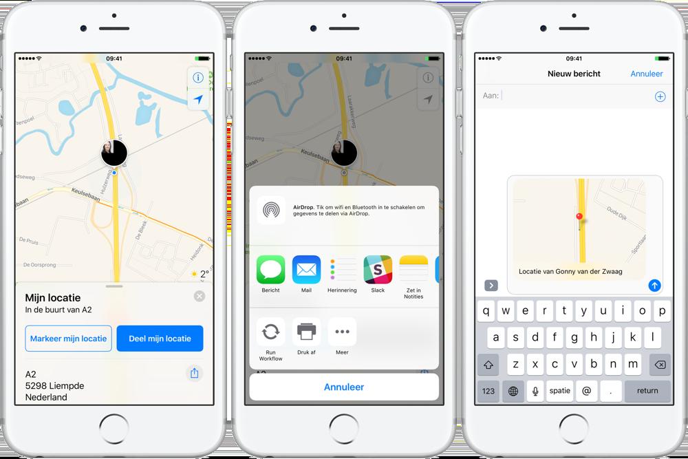 Locatie delen vanuit Apple Kaarten