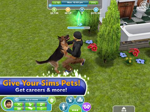 The Sims FreePlay knuffelen met hond iPad
