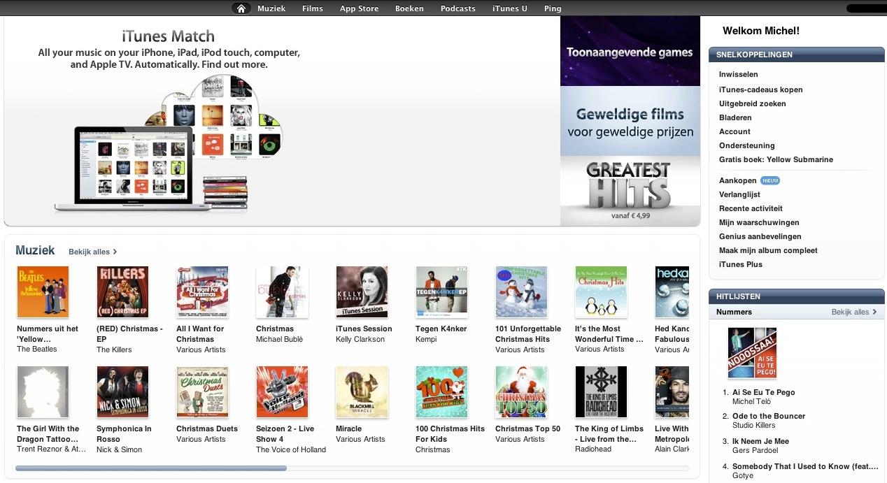 iTunes Match-banner in Nederlandse iTunes Store