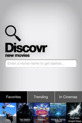 Discovr Movies hoofdscherm