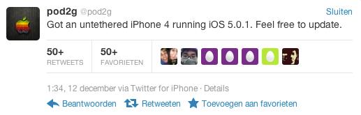 Pod2g iOS 5.0.1 untethered jailbreak