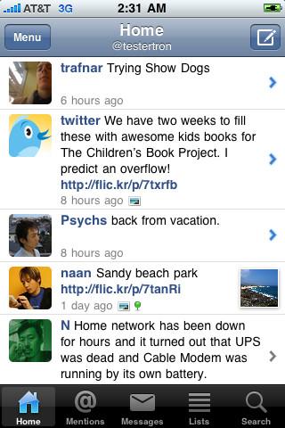 Twitter-alternatieven voor de iPhone Echofon timeline