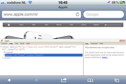 Screenshot van Firebug in Safari