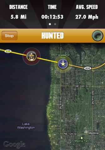 Hunted achtervolging op kaart
