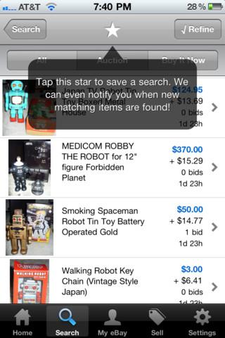 eBay zoekopdracht opslaan op iPhone