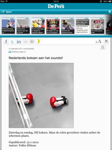 DePers iPad artikelweergave
