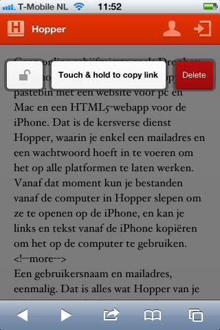 Hopper tekst kopiëren