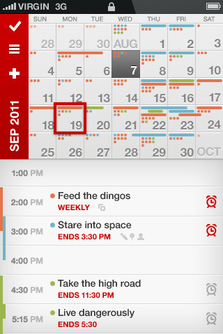 Calvetica kalender iPhone screenshot
