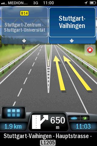 Falk Navigator Plus Europe rijbaan kiezen