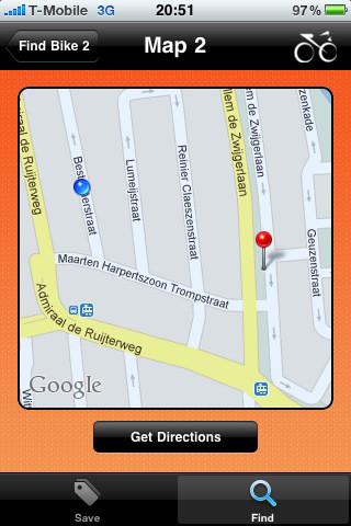 BikeFinder iPhone kaart