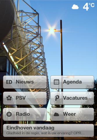 Eindhoven eigen iPhone-app hoofdmenu