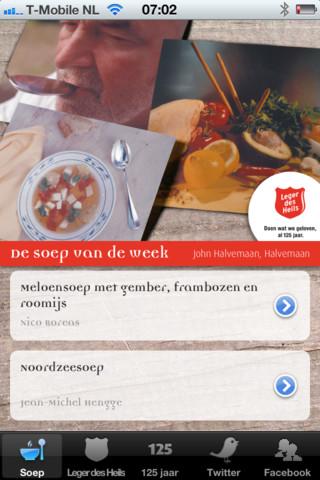 Soep recepten voor de iPhone Leger des Heils