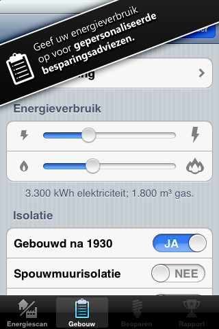 Energiescan verbruik opgeven