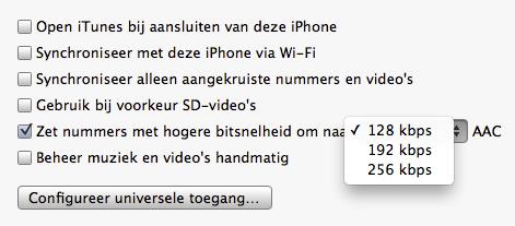 Bitsnelheden iTunes 10.6