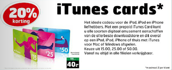 Trekpleister iTunes Card