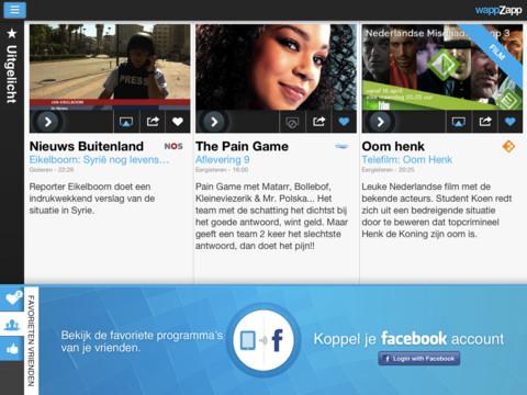 WappZapp.tv hoofdmenu koppel met Facebook