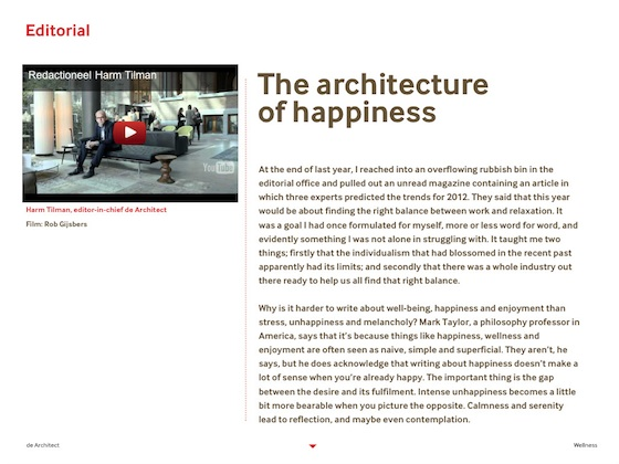 de architect pagina