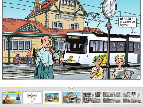 De Kiekeboes tram en navigatiebalk