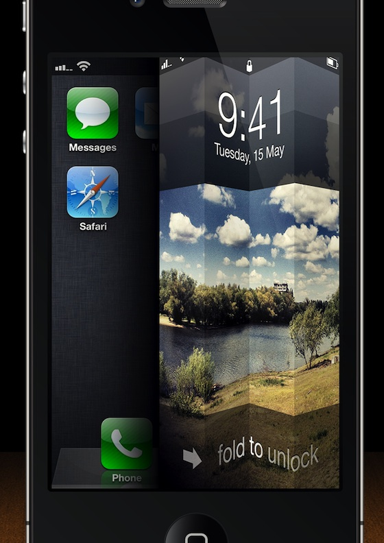 fold to unlock iphone concept