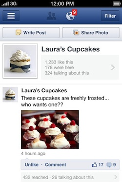 iphone facebook pages