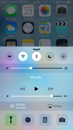 Bedieningspaneel op de iPhone in iOS 9.