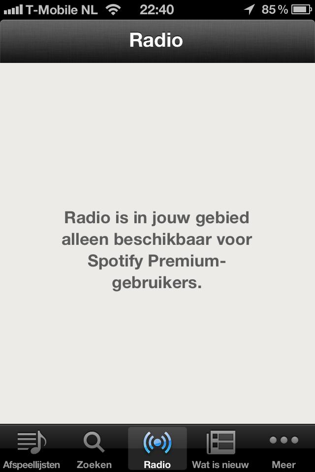 Spotify Radio niet voor NL gratis gebruikers