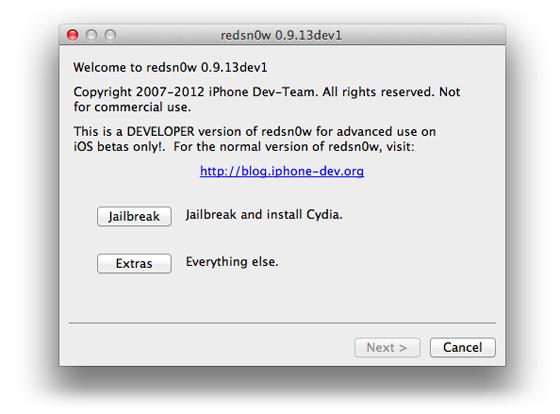 redsn0w 0.9.13dev1 voor iOS 6 beta 1