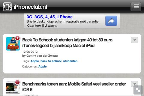 iOS 6 vernieuwingen Safari fullscreen landscape
