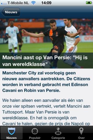 Voetbalnieuws artikel over Van Persie