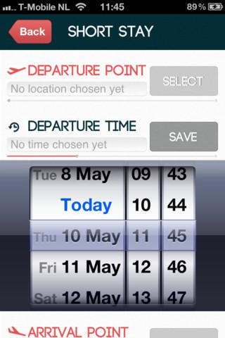 Jet Lag App vertrek- en aankomsttijd jetlag