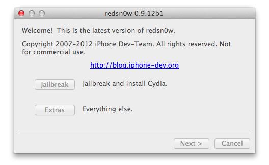 redsn0w 0.9.12b1 voor iOS 5.1.1
