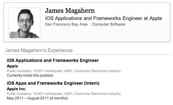 James Magahern LinkedIN profiel in Google cache