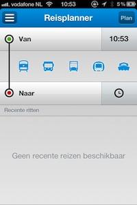 Startscherm GVB-app.