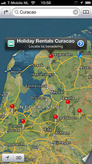 iPhone 5 review Apple Maps resultaat Curacao